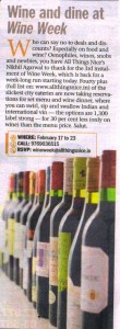 Mumbai Mirror Monday 17th Feb 14, Section - Unwind, Headline - Wine Week
