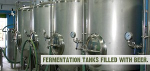 Fermantation Tanks filled with Beer