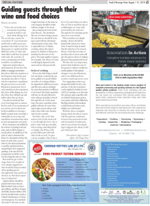 Authored Article - Nikhil Agarwal - Food and Beverage Magazine - August 2018 issue