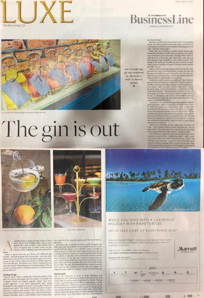 ATN - Gin Story - The Hindu Business Line Luxe - 31st May 2019 - Page 01