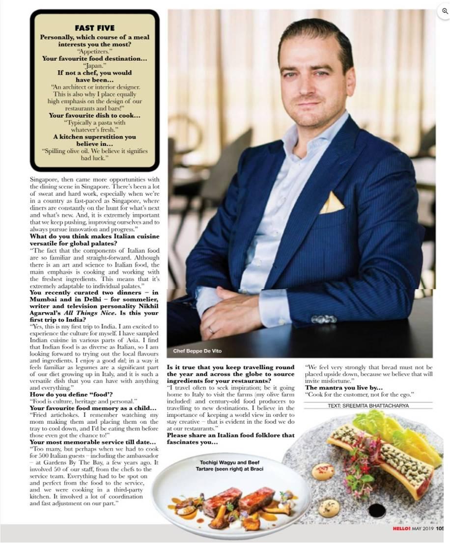 Hello! - Chef Beppe De Vito - May 2019 - Pg 105