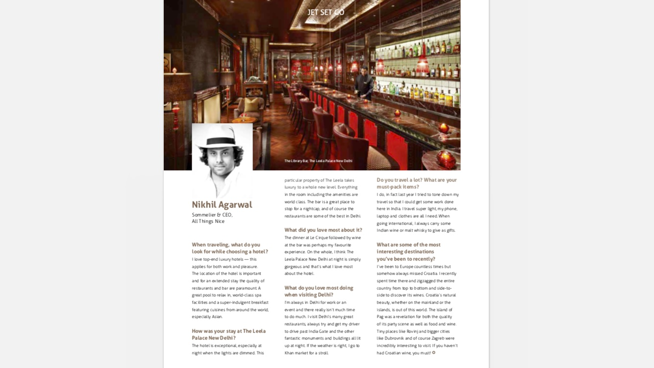 Sommelier Nikhil Agarwal's interview in The Leela Magazine